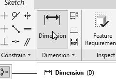 Pick the right vertical line as the geometry to dimension. 6. Place the dimension toward the right side. 5. Select the right vertical line. 6. Place the dimension, by clicking once with the middle-mouse-button, at a location toward the right of the sketch.