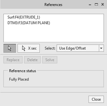1-30 Parametric Modeling with Creo Parametric 9. In the Setup toolbar, click on References to display the option list and select the References option. This will bring up the References dialog box.