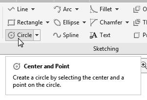 Parametric Modeling Fundamentals 1-35 5. In the Sketching toolbar, select Circle as shown.