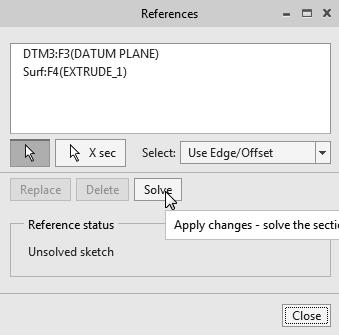 Parametric Modeling Fundamentals 1-39 2. Select the referenced surface in the item list. 3.