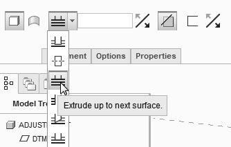Parametric Modeling Fundamentals 1-41 5. In the Ribbon toolbar, click OK to exit the Creo Parametric 2D Sketcher and proceed to the next element of the feature definition. 6.
