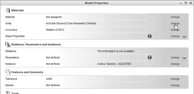Use the left-mouse-button and select Prepare in the pull-down list as shown. 2. Pick Prepare 3. Select Model Properties in the expanded list as shown.