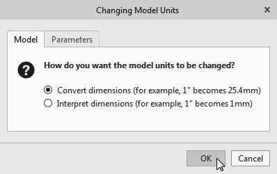 7. In the Changing Model Units dialog box, click on the OK button to accept the default option to change the units.