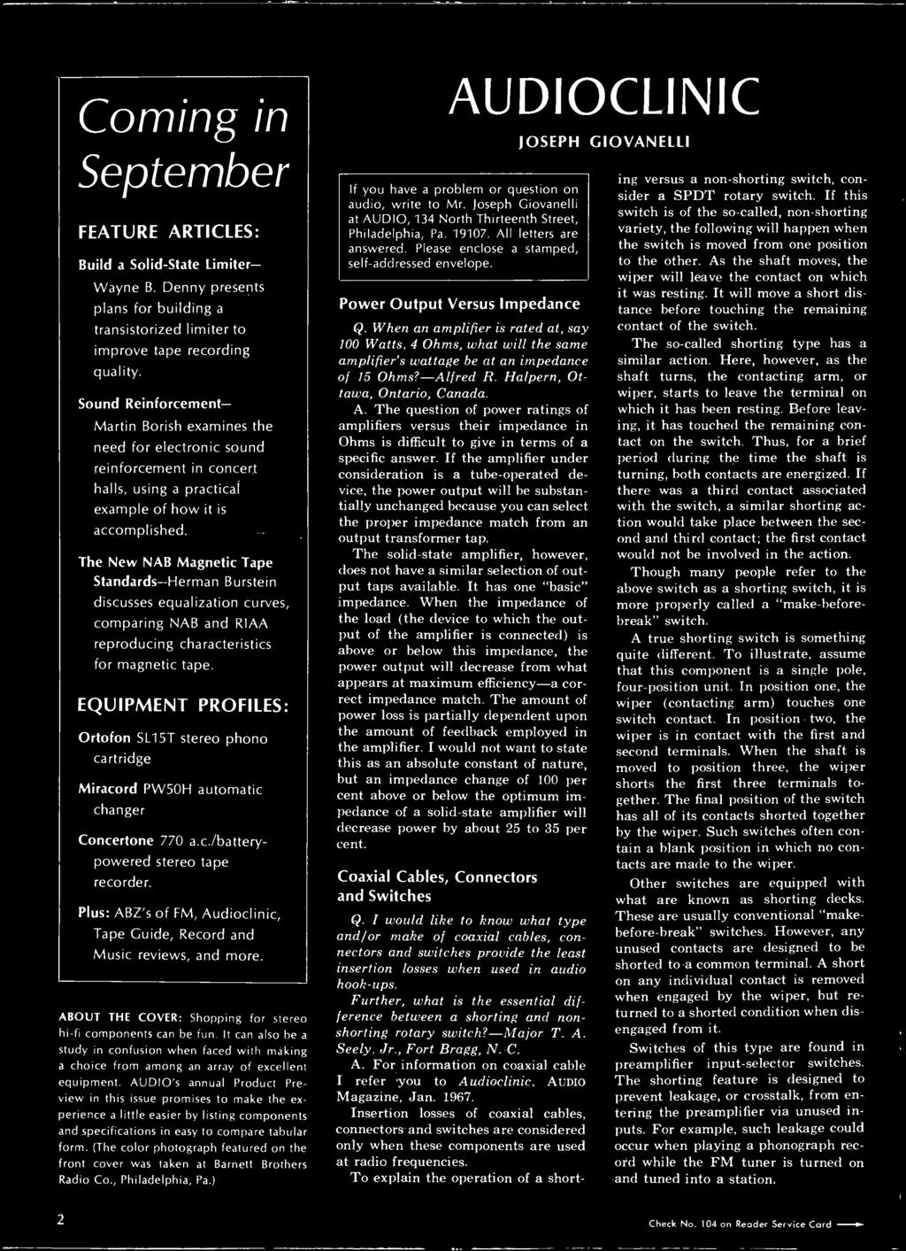 Stereo Hi Fi Preview Issue Pdf Concertone Wiring Diagram The New Nab Magnetic Tape Standards Herman Burstein Discusses Equalization Curves Comparing And