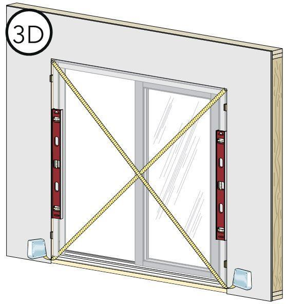 This is used to hold the window in place while shimming it plumb, level and square. 3E Note: DO NOT slide the bottom of the window into the opening, as sliding may damage the sealant lines. F.