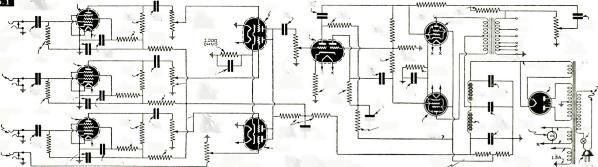 .. Figure gives a circuit diagram of a 9- tube, 25 watt, high - fidelity amplifier, which fulfills your requirements. Three 6SJ7's are used for microphone preamplifiers.