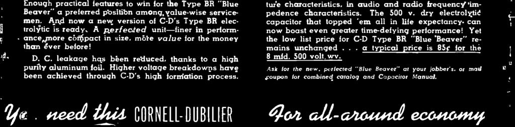 "perfected Blue Beuver "" your lob.,, :t s.: :arr. coupon for combined catalog and Capacitor Manual."