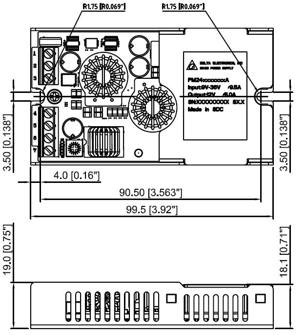 Mechanical Drawing (Panel-mount Package) Mechanical Dimensions Pin Connections Pin Function for Single Output model Function for Dual Output model 1 Vin+ Vin+ 2 Vin- Vin- 3 On/off On/off 4 Vout-