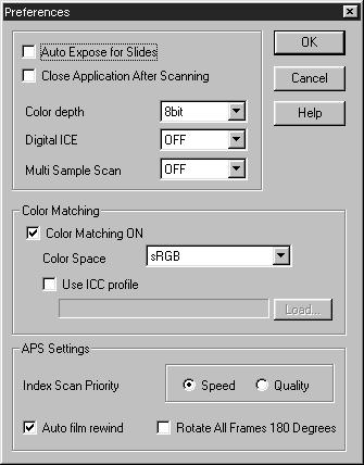 SETTING THE PREFERENCES 1. Click on. The Preference Dialog Box Name of parts COLOR MATCHING Settings (See page 66.) APS Settings (See page 57.) 2. Set the preferences as desired.