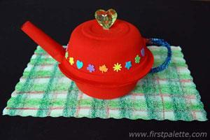 Little Teapot Materials Two small paper bowls Construction paper Any water-based paint Paint brush Scissors Pipe cleaner Glue gun Glue stick Stapler Pencil Pompom or large bead Sequins or craft foam