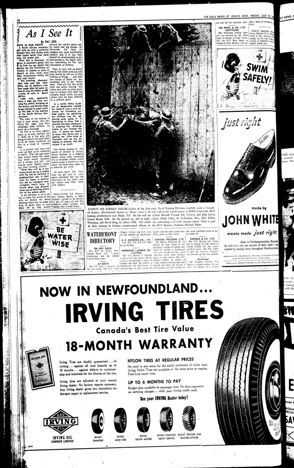 THE DAilY NEWS ST JOHN'S NFlD FRDAY JULY 1 10 will &ail for her de&tined port Blue Haze n chargp oj Scott _ f;'vvv'\ ~'r'roul'''''''''''''' ''O'O~ JOB BROS & CO LTD 1 As See t SOUTHSDE PERT Australia