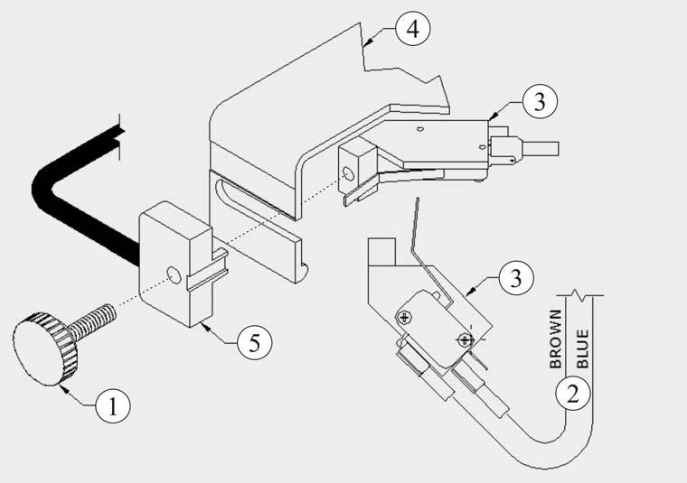 9) Attaching The Versa Switch To The OD 4012: Diagram 7 The Versa Switch replaces the foot pedal and paper stop/guide.