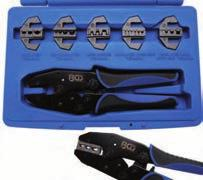 Crimping Tool Set with 5 Pairs of Jaws - Crimping tool set with ratcheting function and adjustable jaws - includes 5 exchangeable crimping jaws for: - closed non-insulated terminal ends: AWG 20-18 /