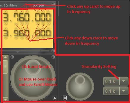 TUNE FREQUENCY: There are a number of ways to tune (change) the frequency: 1. Use your mouse to TURN the dial by click and hold, on the knob and rotating the knob. 2.