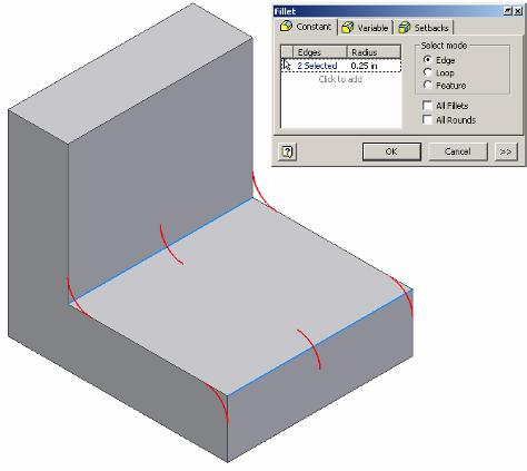 Fillet Place fillets on these edges by selecting them Fillet is a function that allows the user to create a rounded edge where two surfaces meet to form an edge.