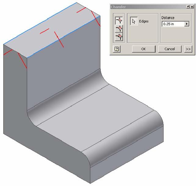 Open the file called Fillets Chamfers. Use the fillet function to apply a.25 radius to the corners shown above. This model will be used in the next exercise.