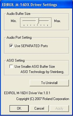 1 khz, or 44,100 samples per second. 5 Close the Preferences window. The M-16DX Driver Settings The M-16DX driver installer adds an M-16DX control panel to Windows, and a Preferences pane to Mac OS X.