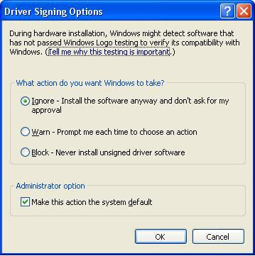 About Driver Signing Options The Driver Signing window lets you select whether Windows should block the installation of an unknown driver,