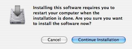 When the computer tells you you ll need to restart the computer after the installation, click Continue Installation.