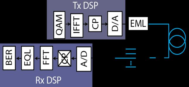 50Gb/s DMT modulation 50G logic +DSP 50G Discrete Multitone Modulation using 10G optics 10G APD BMR 10G