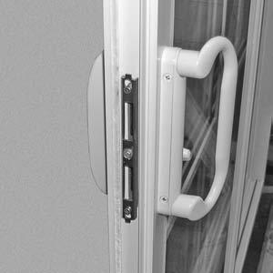 Feed the lock post through the center hole. 8. Arrange escutcheon plate on the interior with latch lever notch facing the stationary panel (FIG- URE 10). 9.