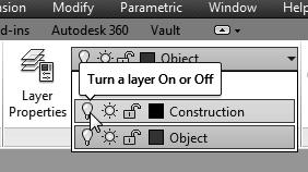 Orthographic Projection and Multiview Constructions 4-33 Turn OFF the Construction Lines Layer 1. On the Object Properties toolbar, choose the Layer Control box with the left-mouse-button. 2.