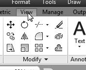 In the Ribbon tabs area, left-mouse-click once on the View tab as shown. 2.