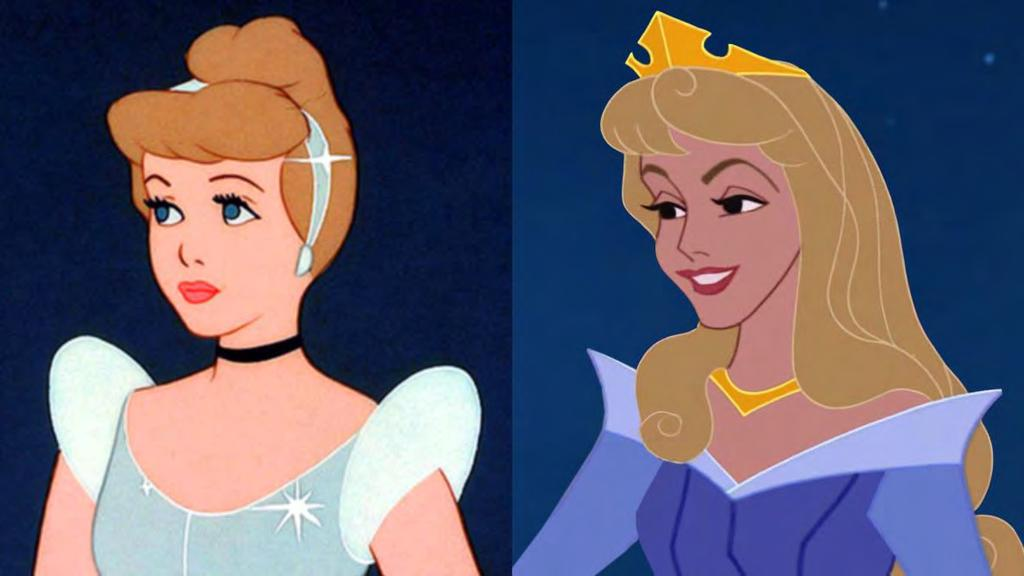 Figure 28. Cinderella and Aurora have similar feminine features. Citations: Cinderella. Directed by Clyde Geronimi and Wilfred Jackson.