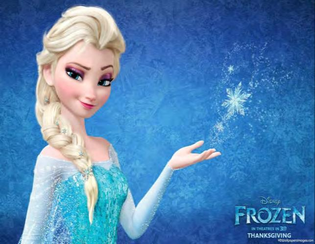 Elsa s face and body are very traditional: rounded, chin, soft face, beauty, tiny waist, bosom,