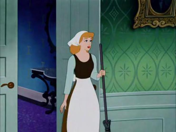 USA: Walt Disney Productions, 1950. Film. Figure 5. Cinderella can be seen here in her domestic attire which emphasizes her white apron.