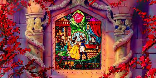 USA: Walt Disney Pictures, 1989. Film. Figure 19. Belle and Beast are pictured here in a stained-glass window while both wearing crowns.
