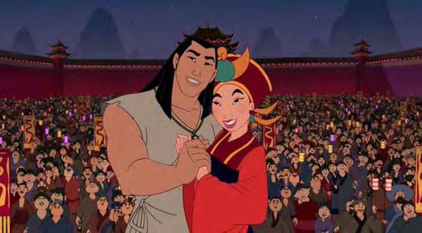 eventually marry. The second image shows Mulan and Shang getting married in Mulan II. Citations: Mulan.