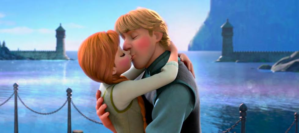 Figure 25. Kristoff and Anna kiss to signify their love for one another and their impending marriage. Citation: Frozen.