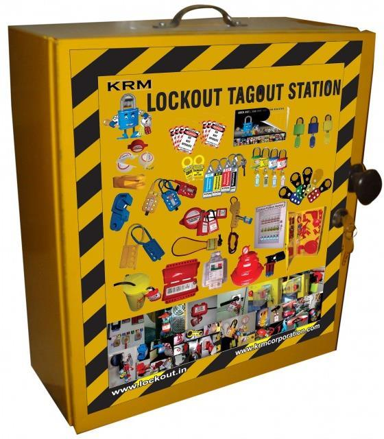 KRM LOTO LOCKOUT TAGOUT COVERED STATION Material - Mild steel with duly phosphate powder Resistant to corrosion.