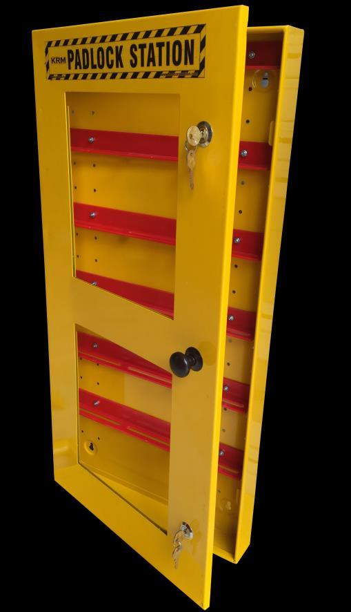 KRM LOTO PORTABLE LOCKOUT TAGOUT STATION Material-Mild steel with duly phosphate powder Resistant to corrosion.
