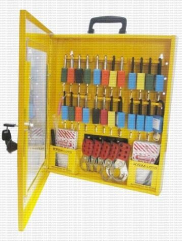 KRM LOTO PORTABLE LOCKOUT TAGOUT STATION Material- Mild steel with duly phosphate powder Resistant to corrosion. Front side Clear Fascia with border frame.