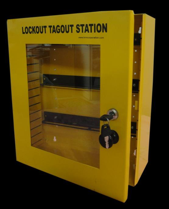 KRM LOTO-LOCKOUT TAGOUT STATION Material- Mild steel with duly phosphate powder Resistant to corrosion. Front side Clear Fascia with border frame.