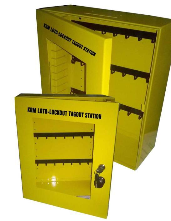 KRM LOTO PORTABLE LOCKOUT TAGOUT STATION Material Mild steel with duly phosphate powder Resistant to corrosion. Front side Clear Fascia with border frame.
