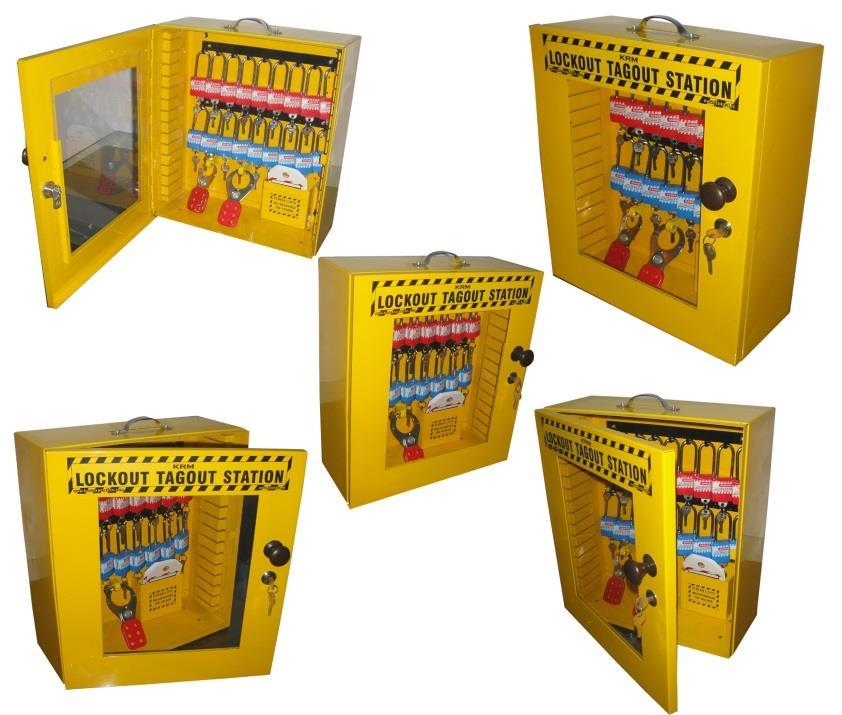 KRM LOTO-MULTIPURPOSE LOCKOUT TAGOUT STATION Material-Mild steel with duly phosphate powder Resistant to corrosion. Front side Clear Fascia with border frame.