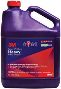 Gelcoat Finishing System 3M Perfect-It Gelcoat Heavy Cutting Compound This fast-cutting compound removes heavy oxidation, scratches, and other defects.
