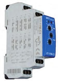 Mulifuncion Insananeous XT-relays XT-17M-C3 Mulifuncion, 10 funcions 8 A, 3 changeover conacs Mulifuncion ime relay equipped wih 10 selecable funcions, adjusable ime delays and universal supply