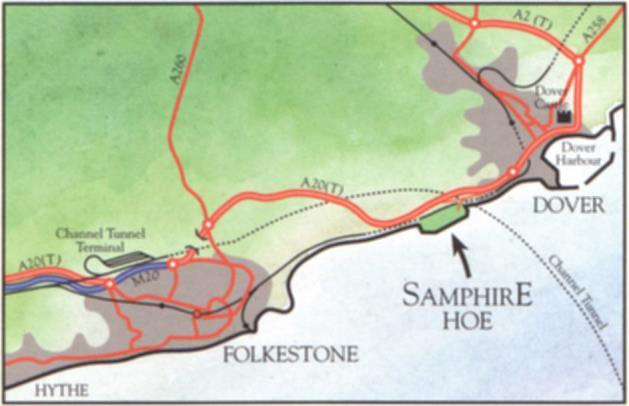 Folkestone & Hythe Birds Site guide: Samphire Hoe Location: Access is via a tunnel through the cliffs, which is located off the A20 between Dover and Folkestone, on the Folkestone-bound side of the
