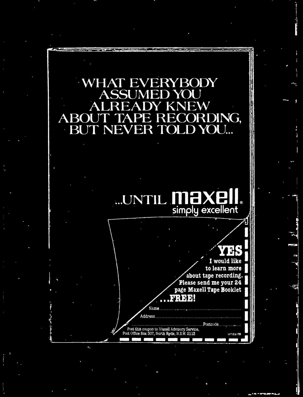 Please send me your 24 page Maxell Tape Booklet '...FREE!