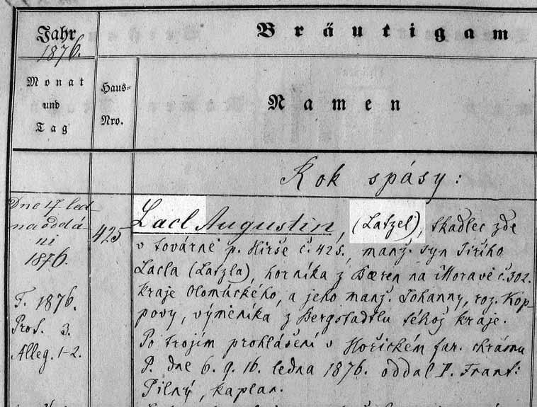 Double spelling (Czech and German) of a family name in the 1876 marriage record for Augustin Lacl/Latzel.