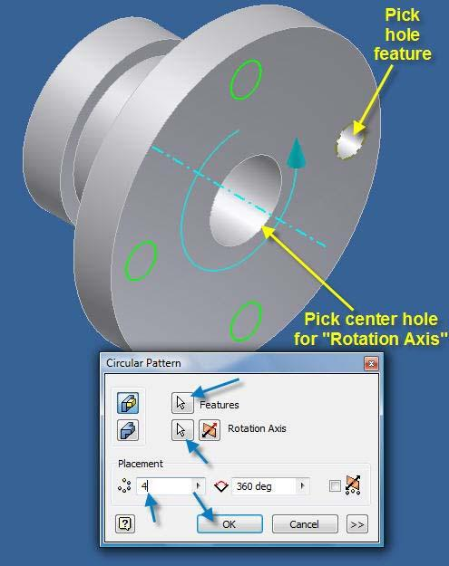 15.11 Pick the Hole Feature, Rotation Axis, Placement (4) and angle (360