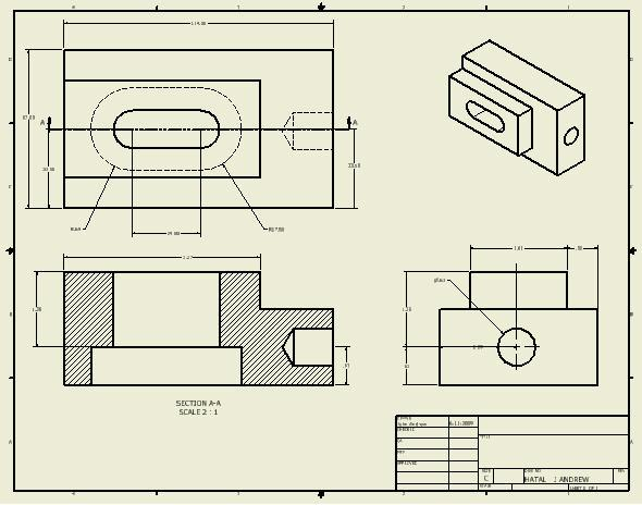 Completed Drawing 17.42 The completed drawing with 3 orthographic dimensioned views and one isometric view is shown above. 17.43 If the above drawing was printed on a C size sheet of paper the text and dimensions would be 1/8 inch high, the industry standard.