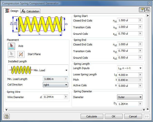 4.2 Compression Spring Component Generator above opens when the Spring icon is selected in the Design Accelerator