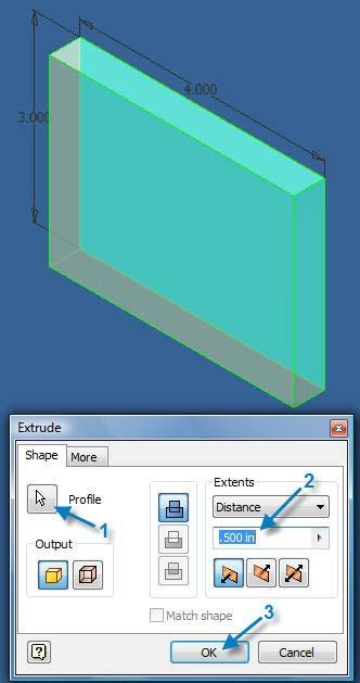10.19 Pick the Profile shape to be extruded in the, Extrude dialog box above. 10.
