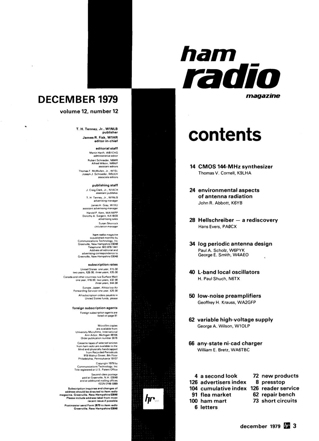 magazine contents 14 CMOS 144-MHz synthesizer Thomas V. Cornell, K9LHA 24 environmental aspects of antenna radiation John R.
