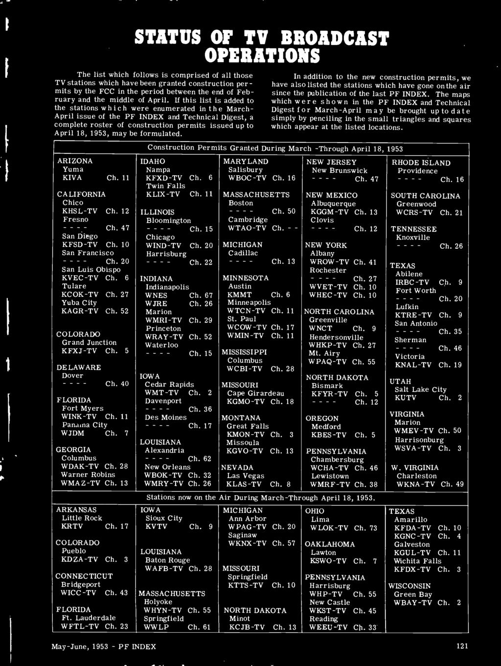 If this list is added to the stations which were enumerated in the March - April issue of the PF INDEX and Technical Digest, a complete roster of construction permits issued up to April 18, 1953, may